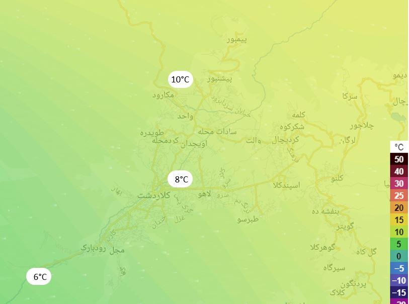 مقایسه دمای هوا در نقاط مختلف کلاردشت و نیز با شهرهای اطراف